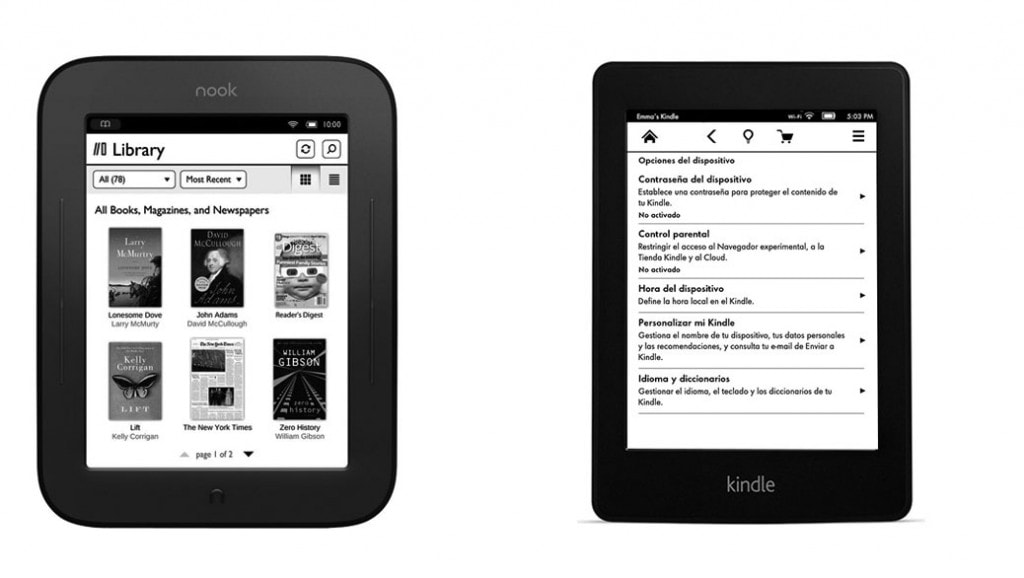 Comparativa eReaders: NOOK Simple Touch Glowlight vs Kindle Paperwhite