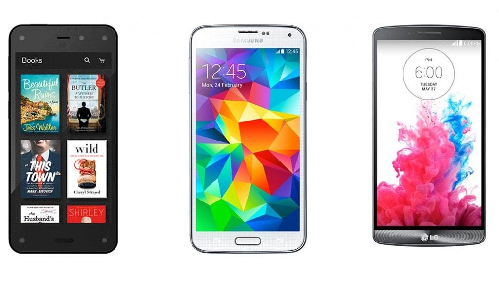 Amazon Fire Phone vs Samsung Galaxy S5 vs LG G3: comparativa smartphones