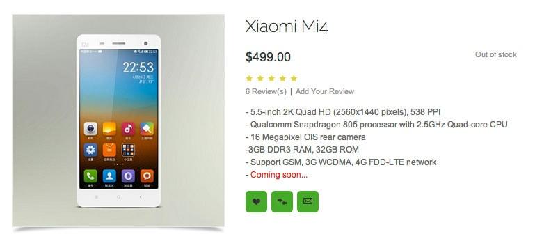Xiaomi Mi4 características