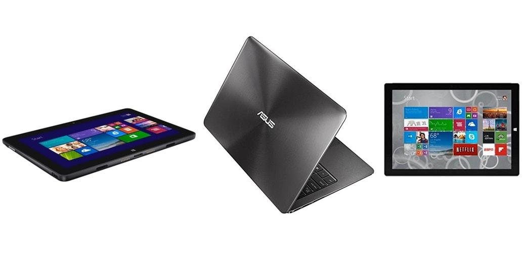 3 ordenadores portátiles y tablets preparados para Windows 10