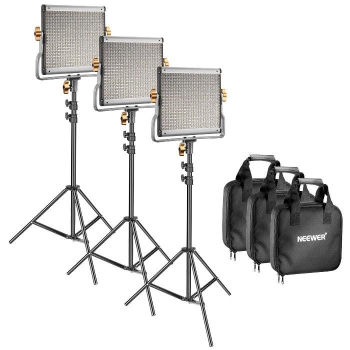 Neewer 3 packs Regulable Bicolor 480 LED Vídeo Luz y soporte iluminación Kit– Panel LED (3200–5600 K CRI 96 +) con soporte