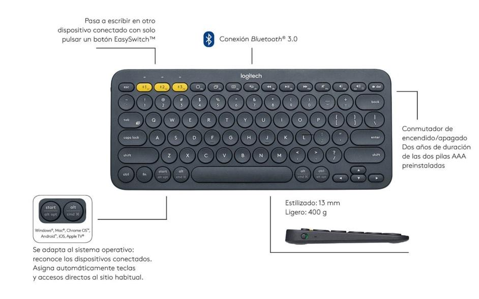 El mejor teclado bluetooth para Windows, Mac, Chrome y Android: Logitech K380