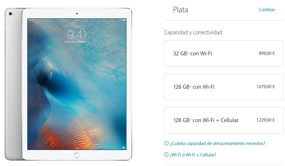 Capacidad de almacenamiento del iPad Pro