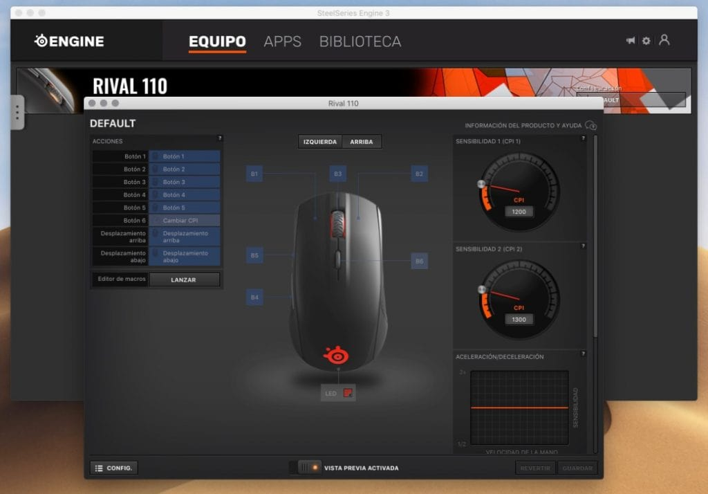 SteelSeries Rival 110: software