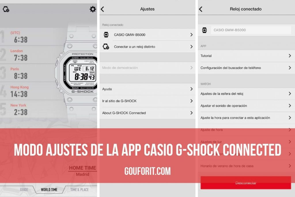 Ajustes app Casio G-Shock Connected
