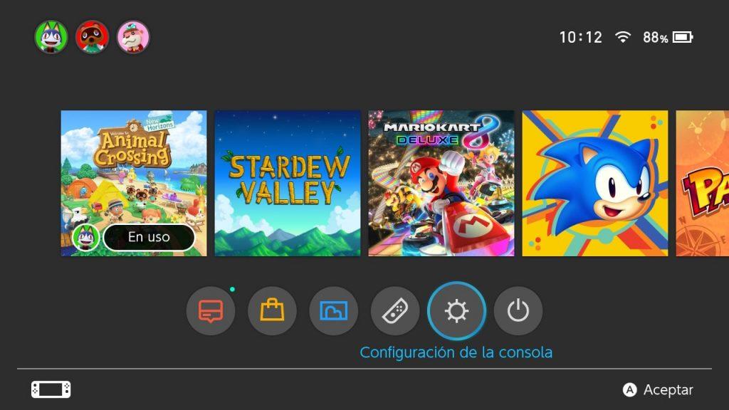 configuracion consola nintendo switch
