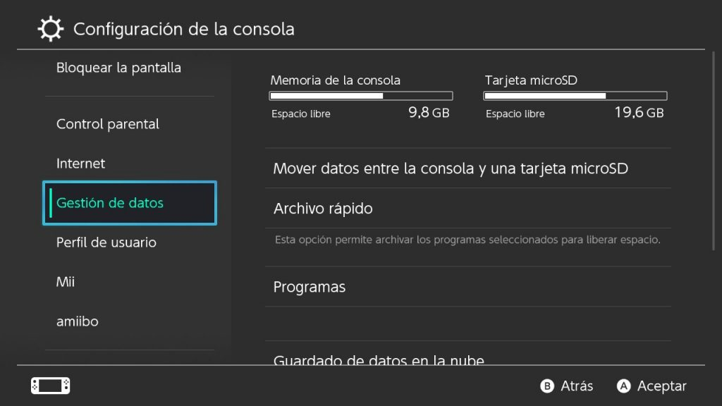 gestion datos nintendo switch