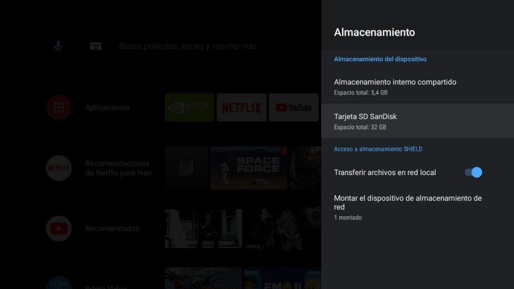 Tarjeta microSD en Nvidia Shield TV  y almacenamiento externo
