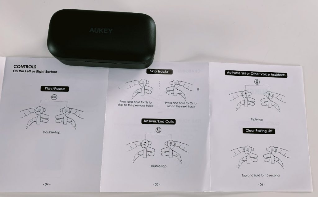 Aukey True Wireless Earbuds controles táctiles