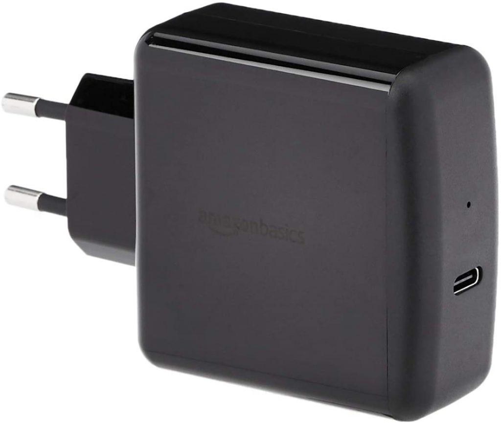 AmazonBasics Cargador para pared USB de tipo C 3.0, 65 W
