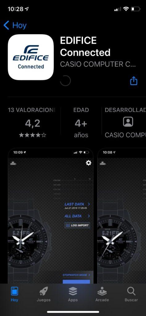 Casio EDIFICE Connected app Bluetooth en iOS
