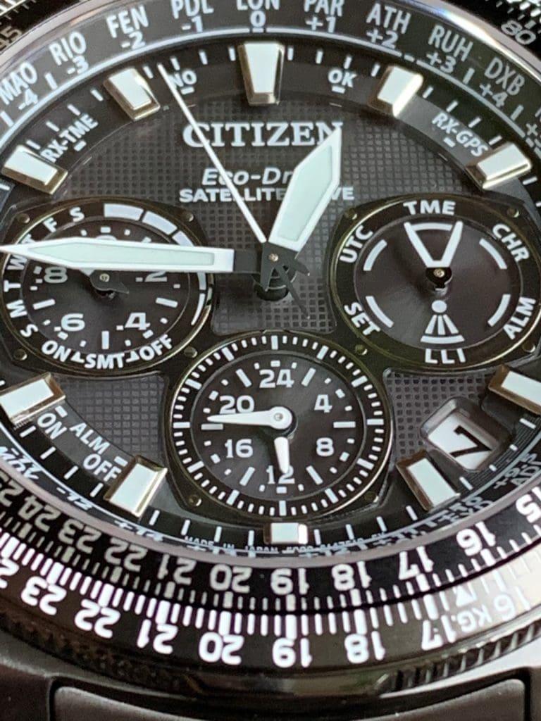 Reloj Citizen Eco Drive CC9025-51E Satellite Wave GPS Sky Premier: detalles esfera