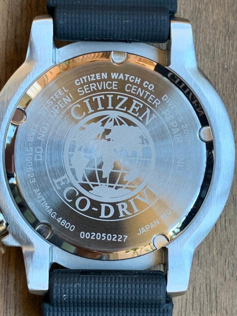 Reloj Citizen Eco Drive BN0150-10E Promaster: parte trasera