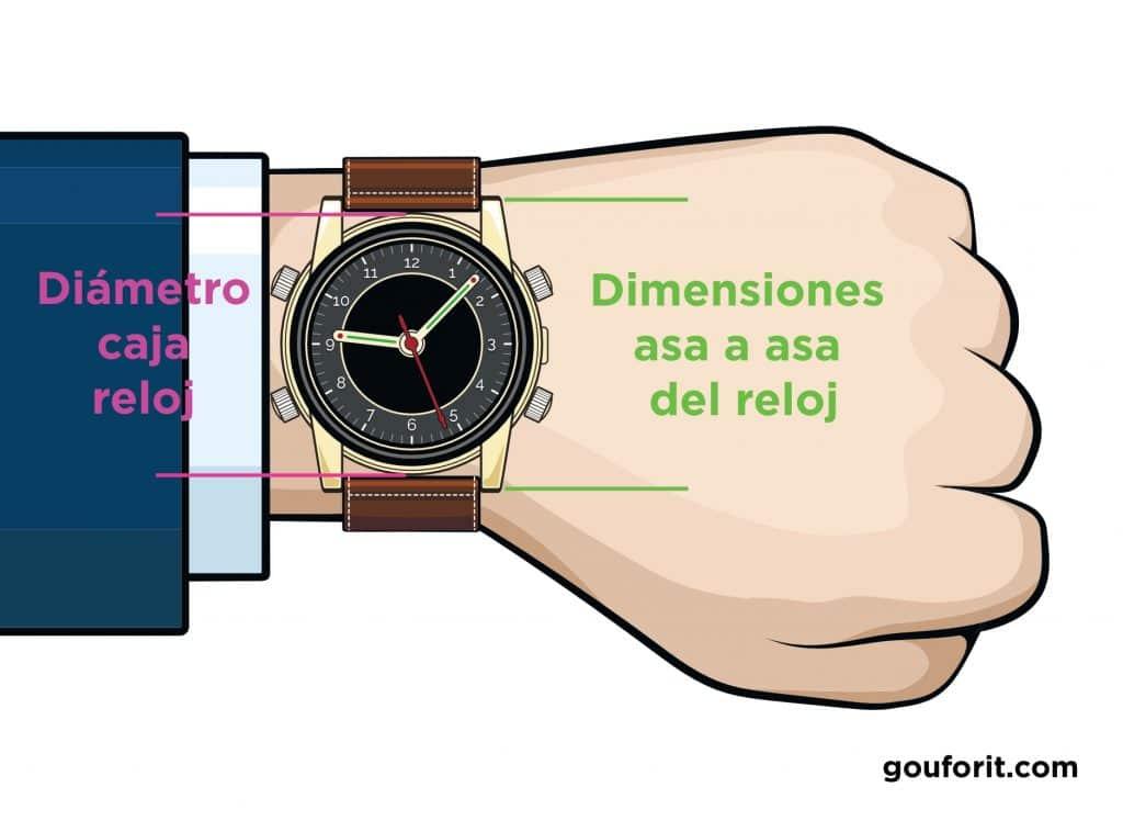 dimensiones reloj pulsera