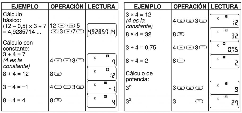 Casio CA-53W: funciones matemáticas