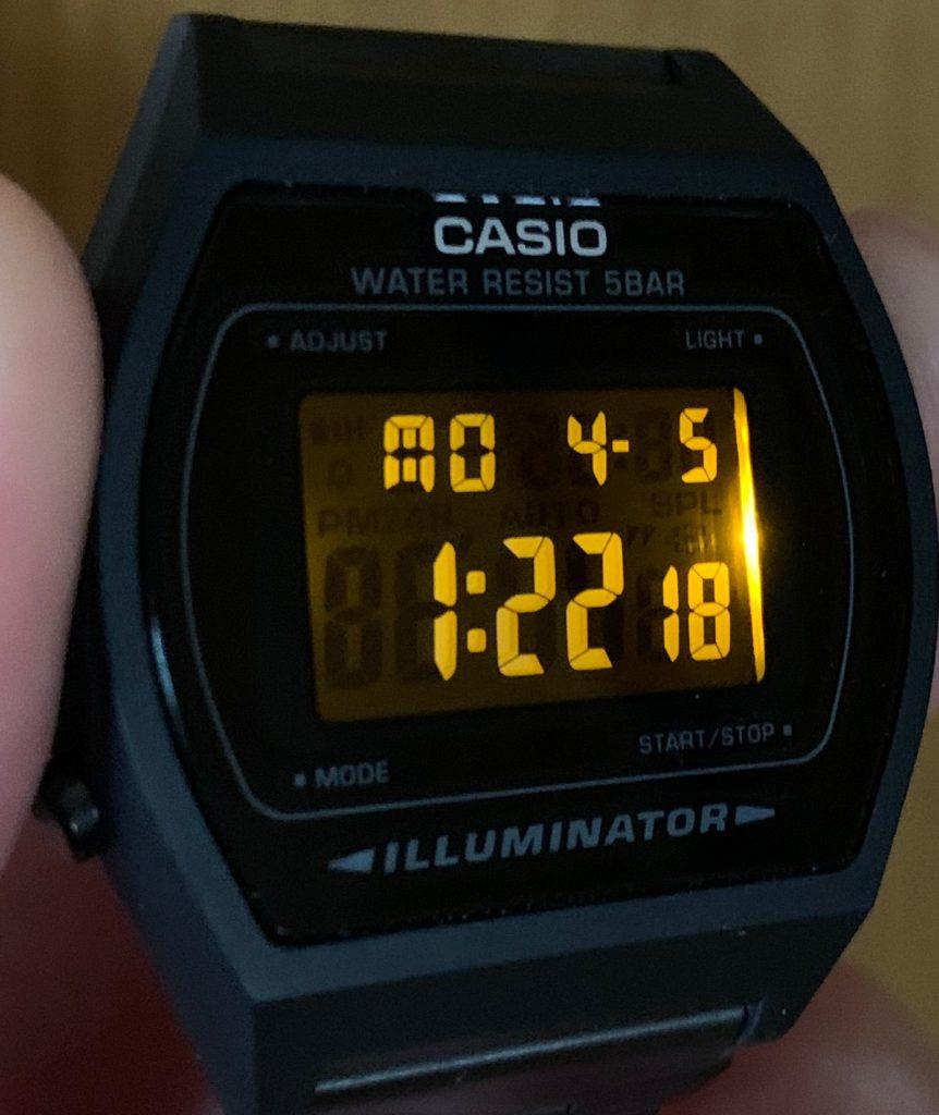 Casio B640WB-1BEF: pantalla negativa