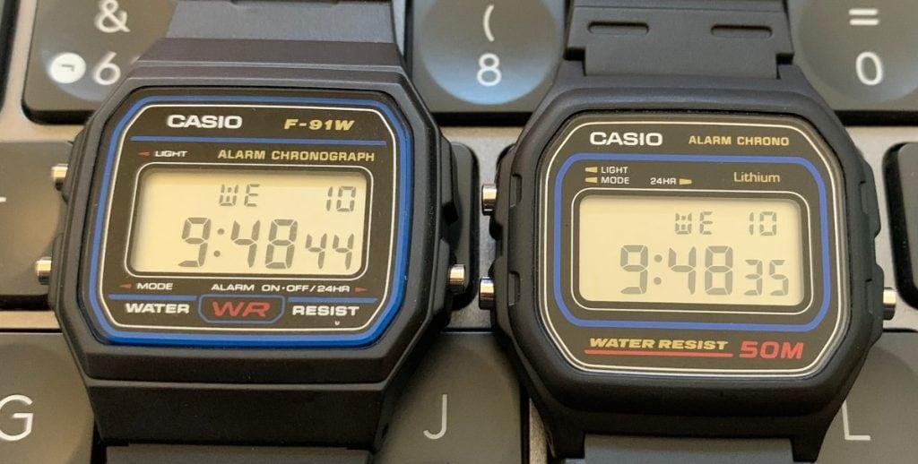 Casio F-91W a la izquierda - Casio W-59 a la derecha
