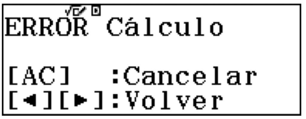Errores que muestra la calculadora
