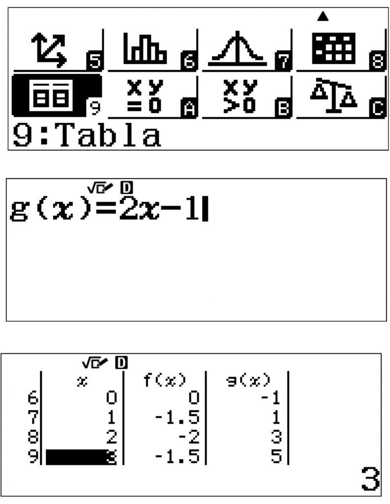 tablas valores calculadora