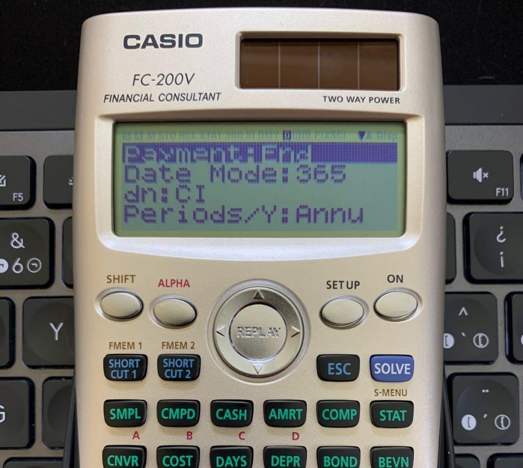 Casio FC-200V: pantalla de SETUP