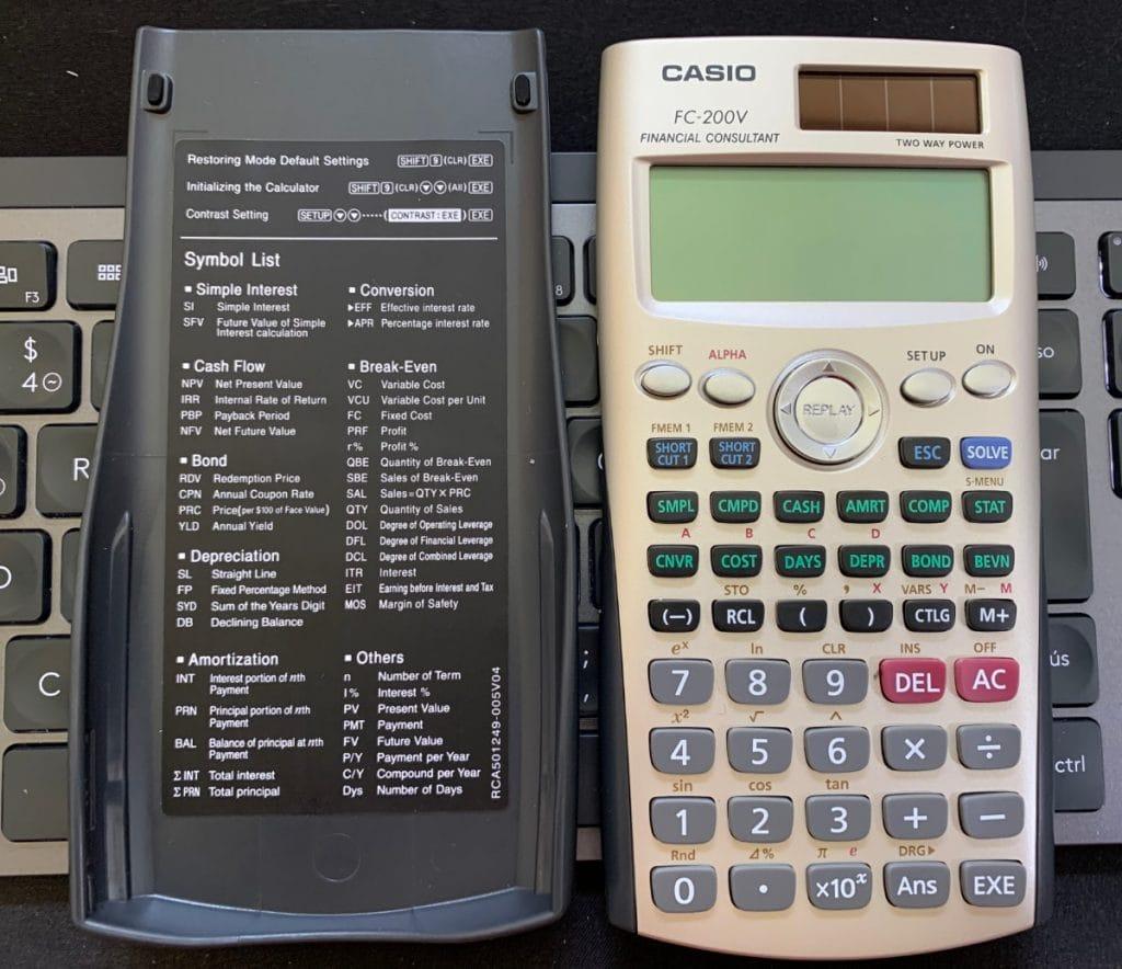 Calculadora financiera Casio FC-200V: tapa