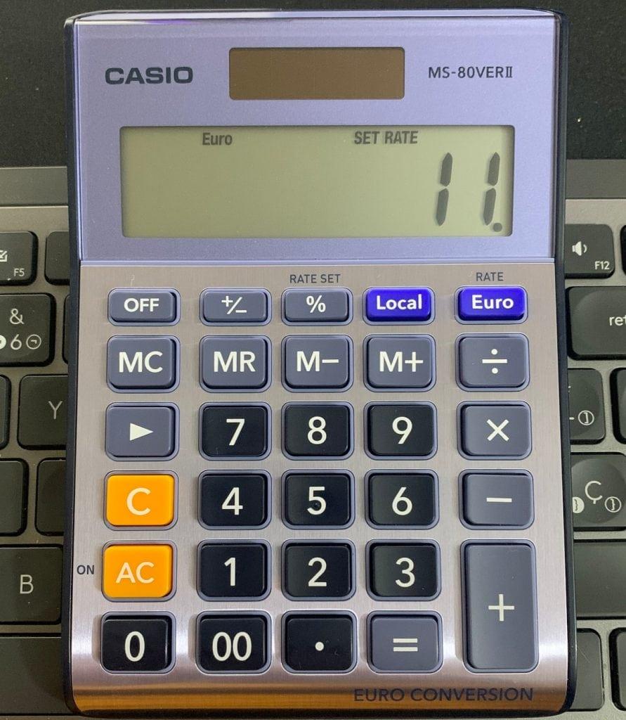 Calculadora de sobremesa Casio MS-80VERII: funciones - Conversión de divisa