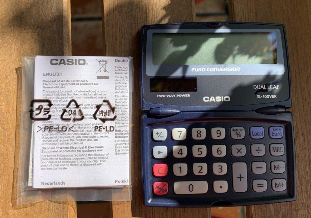 Calculadora de bolsillo Casio SL-100VER - Características y diseño