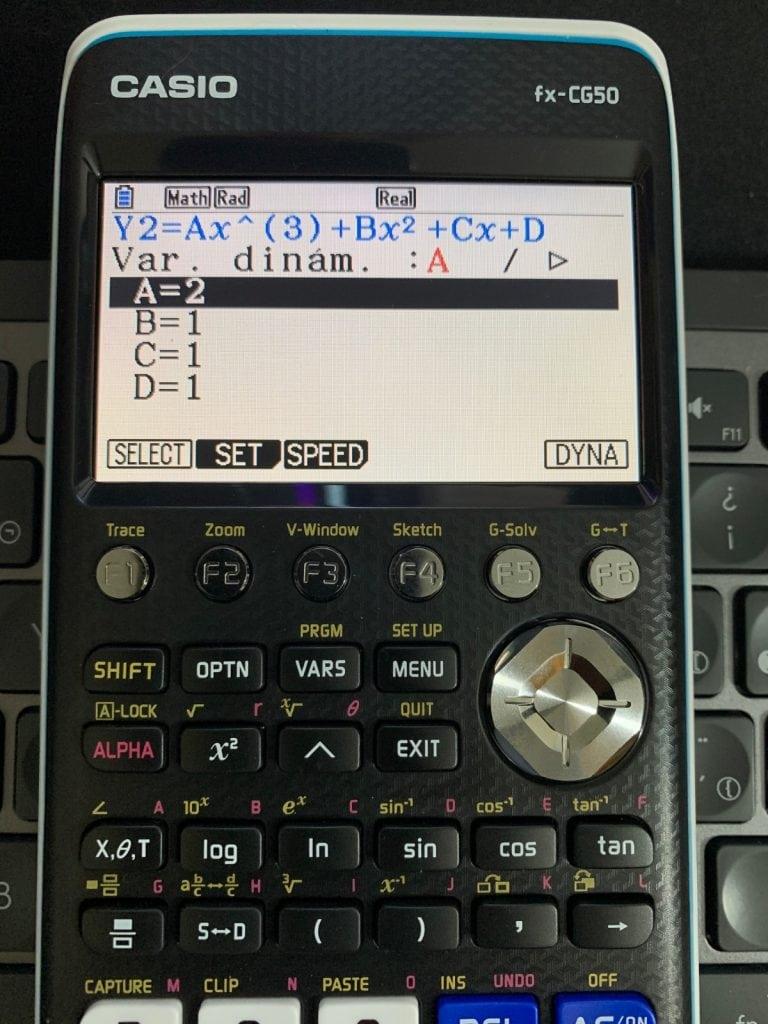 Casio FX-CG50 - Calculadora gráfica: representación de función en el modo Dinámicas.