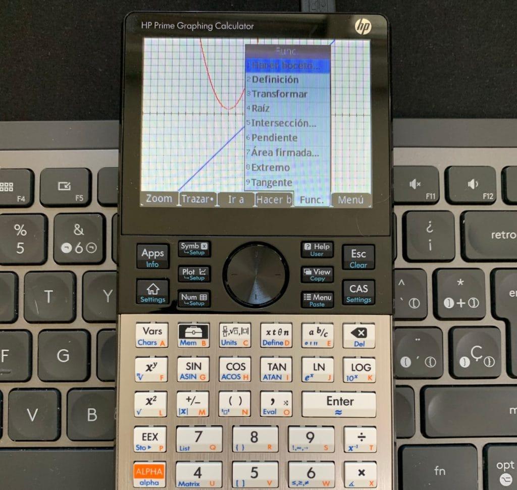HP Prime Graphing Calculator: Gráficos de dos funciones y diferentes cambios que puedes hacer tocando la pantalla.