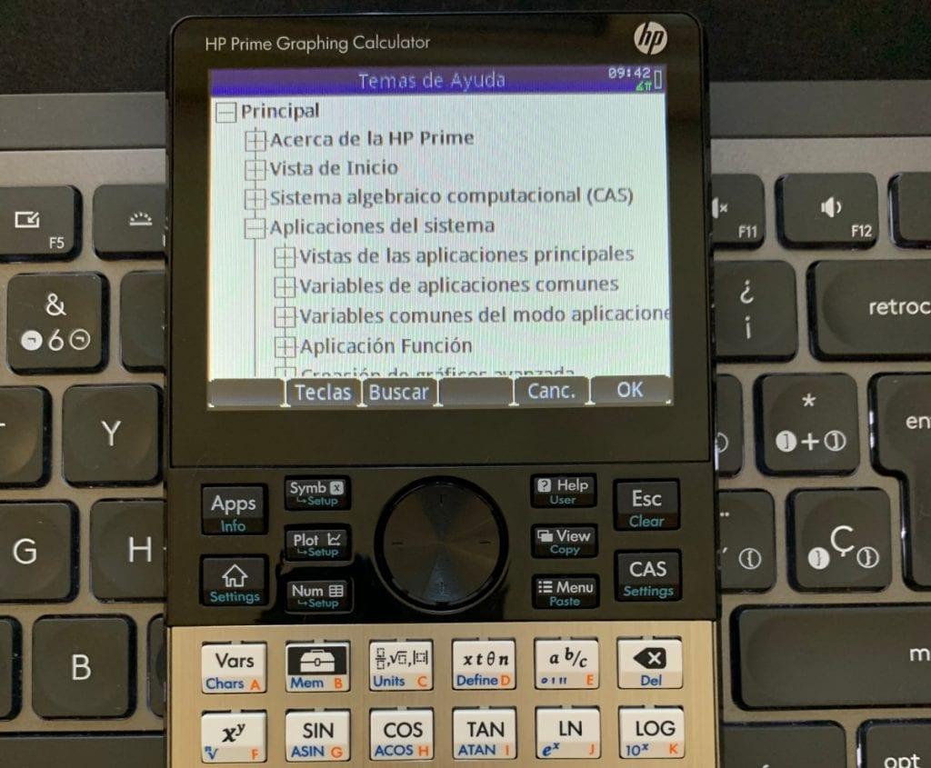 HP Prime Graphing Calculator: menu ayuda