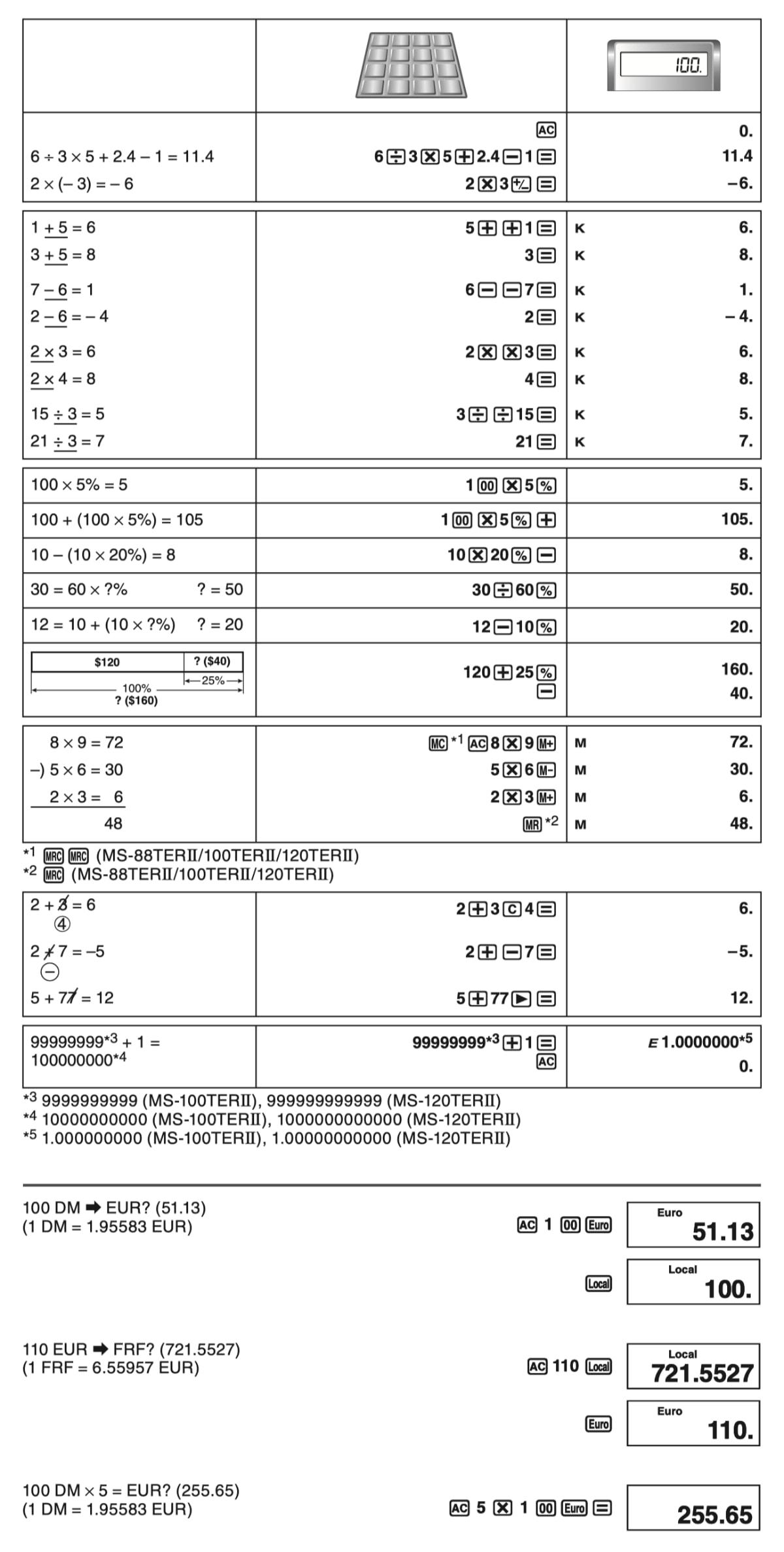 Calculadora de sobremesa Casio MS-80VERII: funciones y ejemplos