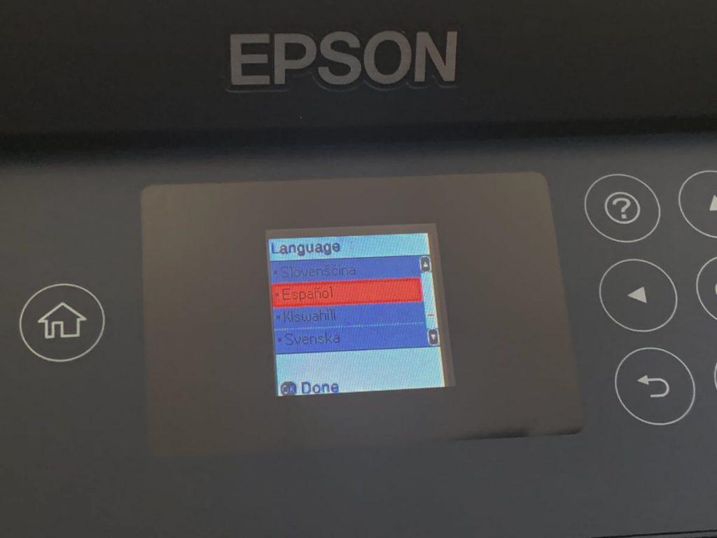 Epson EcoTank ET-2750: configuracion en pantalla LCD