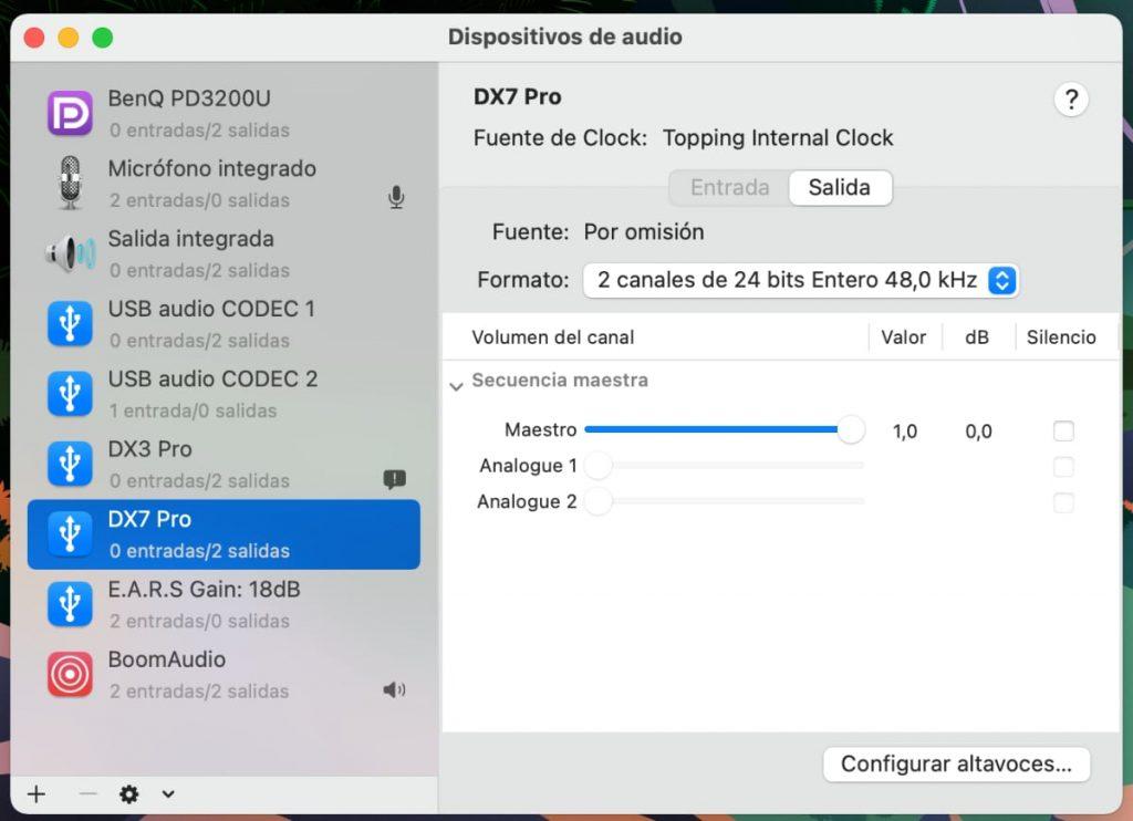 frecuencia de muestreo del sistema operativo del ordenador debe ajustarse a 48 kHz.
