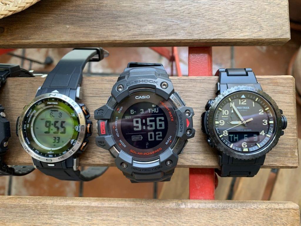 Casio Pro Trek PRW-30, Casio G-Shock GBD-H1000 y Casio Pro Trek PRW-50