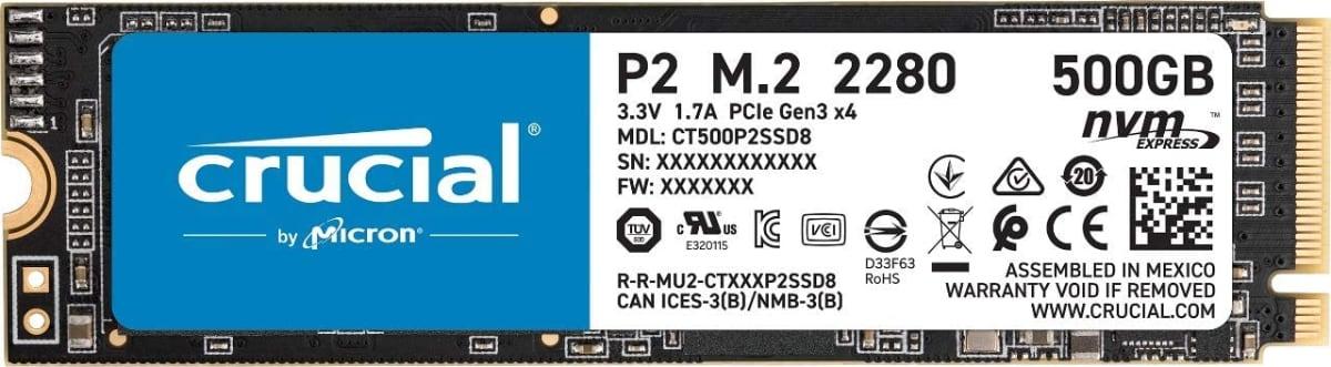 Crucial P2 CT500P2SSD8 Disco Duro sólido Interno SSD de 500GB