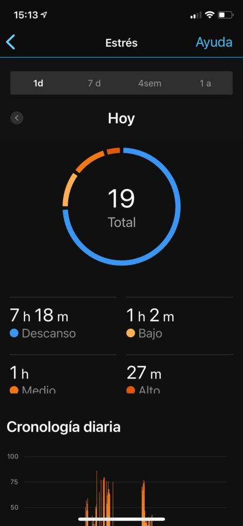 Garmin Instinct Solar: estadísticas actividades