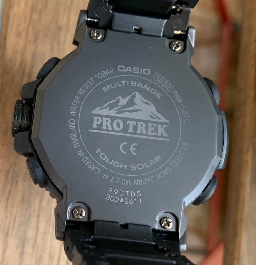 Casio Pro Trek PRW-50FC-1ER: parte trasera