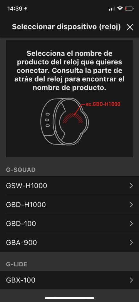 Conectando el Casio G-Shock GBX-100 a la app