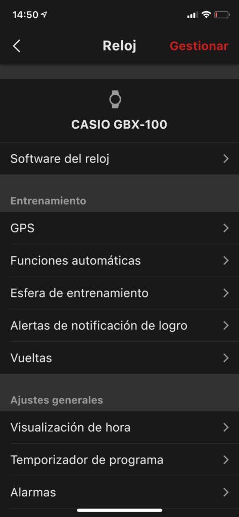 Casio G-Shock GBX-100: funciones y app