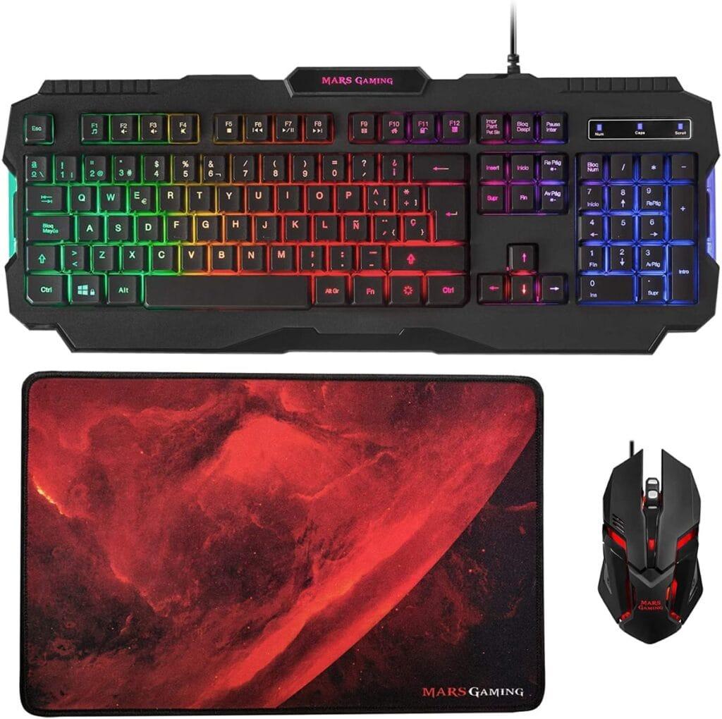 Mars Gaming MCP118, Pack Iluminación RGB de Teclado, Ratón y Alfombrilla Gaming