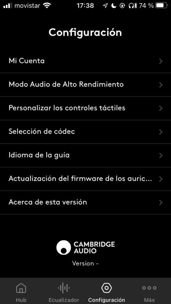 Cambridge Audio Melomania 1 Plus Auriculares True Wireless: ajustes app