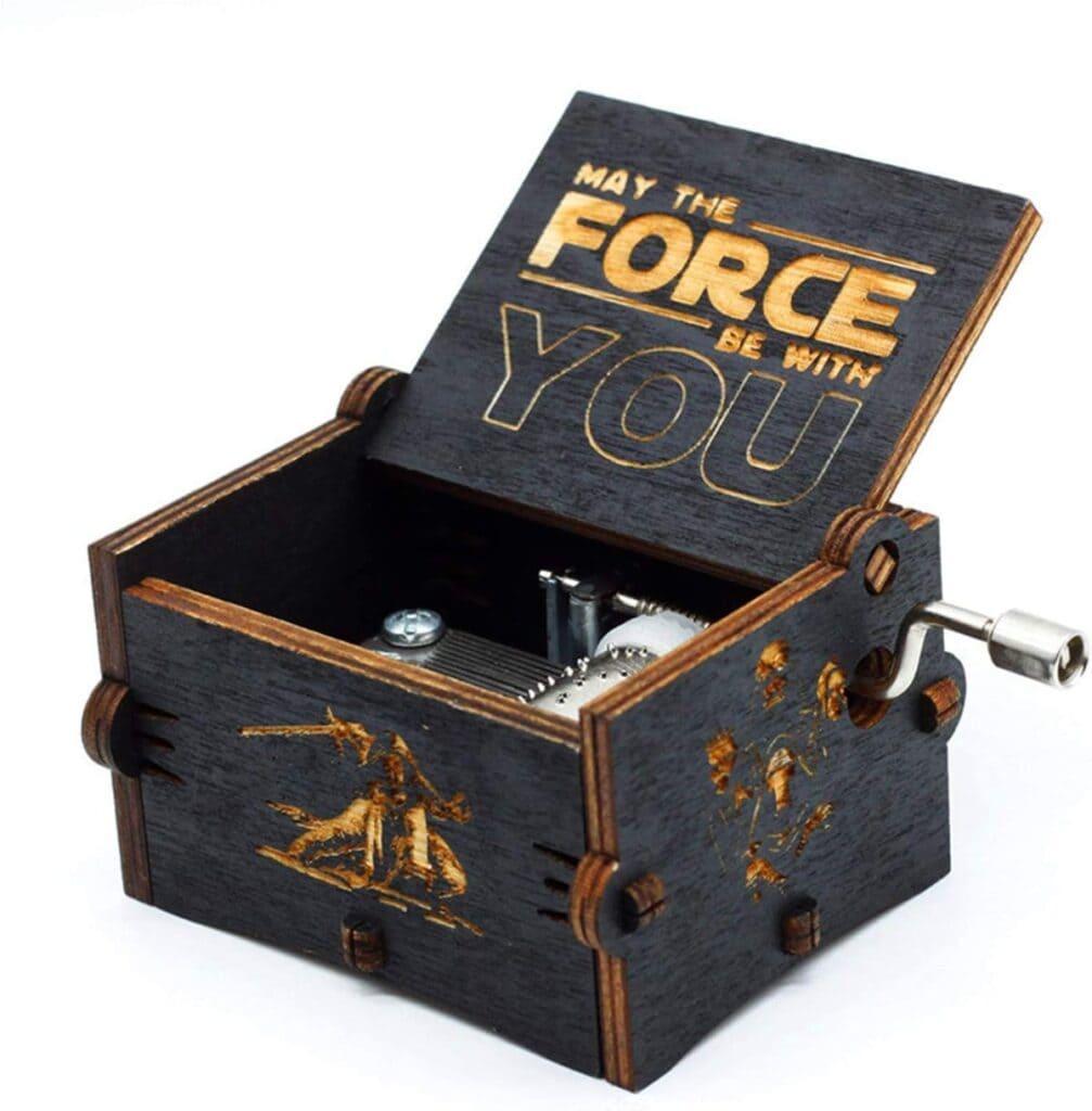Caja de música de Star Wars de madera negra